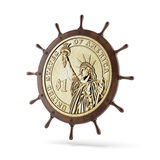 Roda de direção do navio com moeda do dólar Fotos de Stock