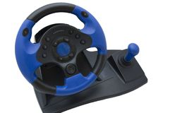 Roda de direcção azul Imagem de Stock