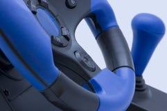 Roda de direcção azul para jogadores Fotos de Stock Royalty Free