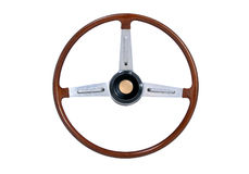 Roda de direcção de madeira Imagens de Stock Royalty Free