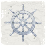 Roda de direcção do navio no fundo do papel do grunge Imagem de Stock