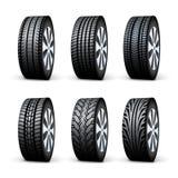 Roda de disco do carro Ilustração isolada serviço do vetor da roda do pneumático Grupo do projeto do pneumático do veículo ilustração stock