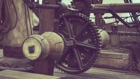 Roda de engrenagem náutica do barco do pirata imagem de stock