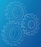Roda de engrenagem Rendição do vetor de 3d estilo do Fio-quadro as camadas da vista 3D de linhas visíveis e invisíveis são separa Ilustração Stock