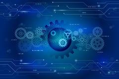 Roda de engrenagens e elementos do circuito futuristas abstratos no azul Imagem de Stock