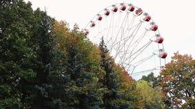 Roda de Ferris atrás das árvores do outono no parque filme