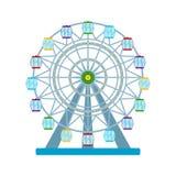 Roda de ferris colorida no fundo branco, ilustração do vetor Fotografia de Stock Royalty Free