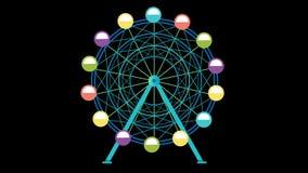 Roda de ferris colorida que gira com animação isolada do fundo ilustração royalty free