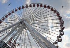 Roda de Ferris com pássaro e plano Fotos de Stock Royalty Free