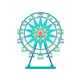 Roda de Ferris, ilustração do vetor do elemento do parque de diversões em um fundo branco ilustração do vetor