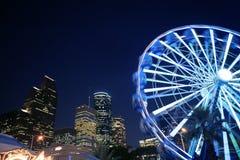 A roda de Ferris na noite justa ilumina-se em Houston Imagem de Stock Royalty Free