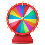 Roda de giro realística da fortuna, roleta afortunada Roda colorida da sorte ou da fortuna Fortuna da roda isolada no branco, 3d ilustração do vetor