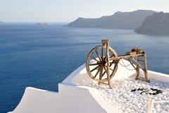 Roda de madeira com uma vista Fotografia de Stock Royalty Free