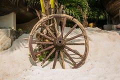 Roda de madeira velha na areia Fotos de Stock Royalty Free