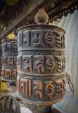 Roda de oração no templo do macaco do templo de Swayambhunath aka, Kathmandu, Nepal imagem de stock royalty free