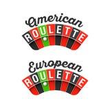 Roda de roleta americana e europeia ilustração stock