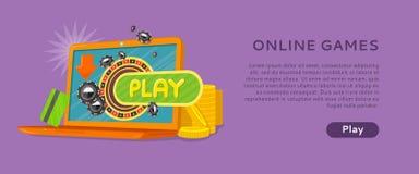 Roda de roleta do casino do portátil da bandeira dos jogos onlines ilustração stock