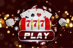Roda de roleta do fundo do casino com jogo de microplaquetas Projeto de conceito em linha da tabela do pôquer do casino Slot mach ilustração stock