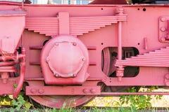 Roda de um vagão de estrada de ferro com suspensão imagem de stock royalty free