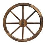 Roda de vagão de madeira isolada no fundo branco Imagem de Stock
