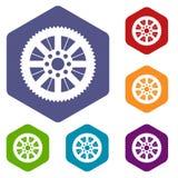Roda dentada dos ícones da bicicleta ajustados ilustração stock