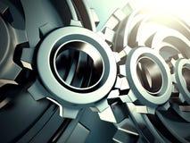 A roda denteada azul industrial alinha o fundo Fotografia de Stock Royalty Free