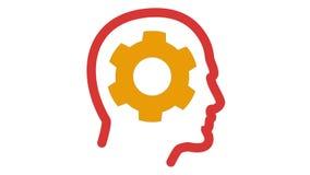 A roda denteada gerencie a cabeça humana interna ilustração do vetor