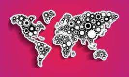 A roda denteada roda o mapa do mundo Fotos de Stock
