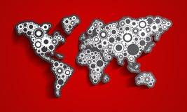 A roda denteada roda o mapa do mundo Imagens de Stock