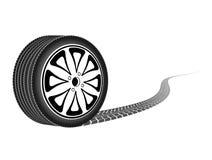 Roda do automóvel que sae de um traço ilustração stock
