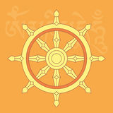 Roda do dharma, um de oito símbolos religiosos budistas Imagens de Stock