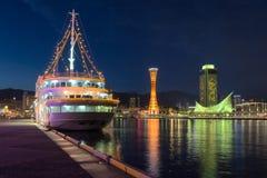 Roda do navio de cruzeiros e de Ferris de Kobe Foto de Stock