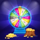 Roda do saco da sorte ou da fortuna completamente de moedas douradas ilustração royalty free
