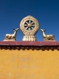 Roda dourada de Dharma, templo de Jokhang imagens de stock royalty free