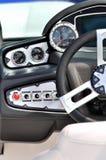 Roda e área de controle de um iate luxuoso Fotografia de Stock