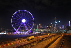 Roda feericamente de Hong Kong na noite Imagens de Stock