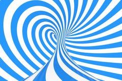 Roda a ilustração ótica da quadriculação da ilusão 3D Contraste listras espirais azuis e brancas Imagem geométrica do toro do inv fotografia de stock