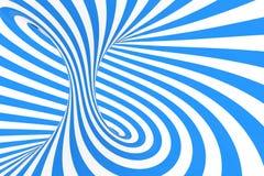 Roda a ilustração ótica da quadriculação da ilusão 3D Contraste listras espirais azuis e brancas Imagem geométrica do toro do inv fotografia de stock royalty free