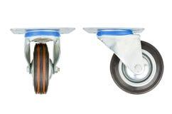 Roda industrial do metal e da borracha isolada no fundo branco Foto de Stock Royalty Free