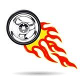 Roda no fogo Imagens de Stock