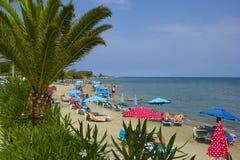Roda strand, Korfu Grekland Fotografering för Bildbyråer
