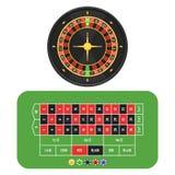 Roda, tabela e microplaquetas de roleta Imagem de Stock Royalty Free