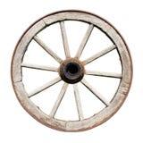 Roda tradicional velha de Wodden isolada no branco Fotos de Stock
