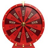 roda vermelha da ilustração 3d da sorte ou da fortuna Roda de giro realística da fortuna Fortuna da roda isolada no branco ilustração royalty free