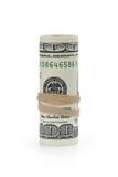 Rodado cientos billetes de banco del dólar atados con Fotos de archivo libres de regalías