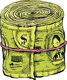 Rodado encima del taco del efectivo stock de ilustración