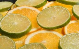 Rodajas de naranja y limon. Juicy slices of lemon and orange with white background Stock Images