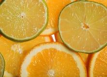 Rodajas de naranja y limon. Juicy slices of lemon and orange with white background Stock Image