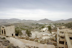 Rodalquilar, cabo de gata, andalusia, spain, europe, old gold mines. View of old abandoned gold mines in rodalquilar Royalty Free Stock Photo