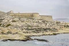 Rodalquilar, cabo DE gata, andalusia, Spanje, Europa, het kasteel van San Ramon bij playazo van strandgr Stock Afbeelding